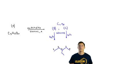 On being heated with a solution of sodium ethoxide in ethanol, compound A (C7H...