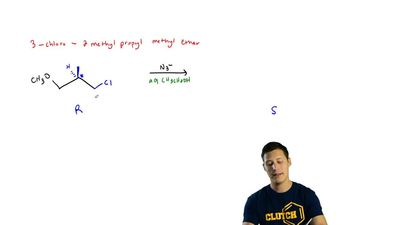 (R)-(3-Chloro-2-methylpropyl) methyl ether (A) on reaction with azide ion (N3...