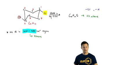 Predict the structure of the product of this reaction: The product has no infr...