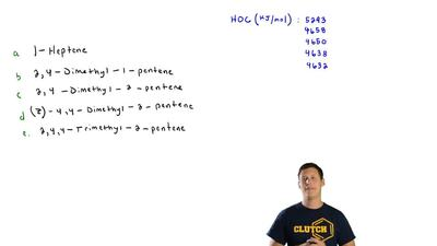 Match each alkene with the appropriate heat of combustion:  Heats of combustio...