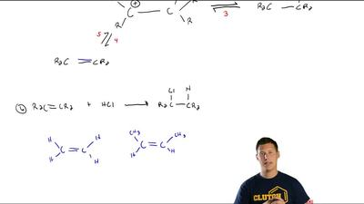 The overall equation for the addition of HCl to alkenes is:   If the transit...