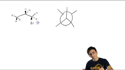 Identify all atoms that are (a) anti and (b) gauche to bromine in the conforma...
