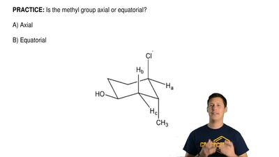 Is the methyl group axial or equatorial?  A) Axial  B) Equatorial ...