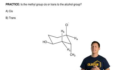 Is the methyl group cis or trans to the alcohol group?  A) Cis  B) Trans ...