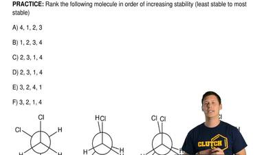 Rank the following molecule in order of increasing stability (least stable to ...