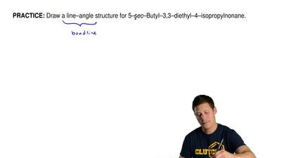 Draw a line–angle structure for 5–sec–butyl–3,3–diethyl–4–isopropylnonane. ...