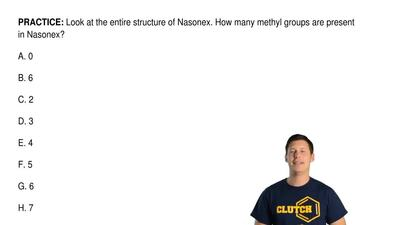 Look at the entire structure of Nasonex. How many methyl groups are present in...