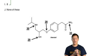 Look at the  entire structure of Atenolol. What is the  total number of lone p...
