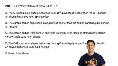 Which statement below is FALSE?  A. The C-H bond in an alkane that arises from...