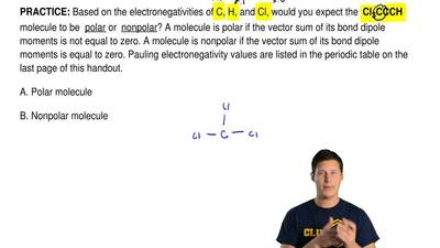 Based on the electronegativities of C, H, and Cl, would you expect the Cl3CC...