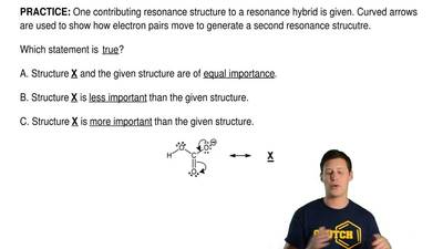 One contributing resonance structure to a resonance hybrid is given. Curved ar...