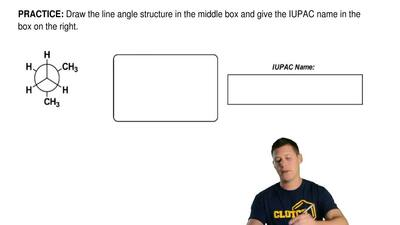 Draw the line angle structure in the middle box and give the IUPAC name in the...