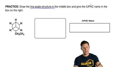 Draw the line angle structure in the middle box and give the IUPACname in the...