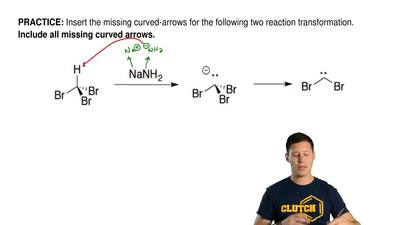 Insert the missing curved-arrows for the following two reaction transformation...