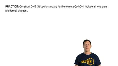 Construct ONE (1) Lewis structure for the formula C2H7ON. Include all lone pai...