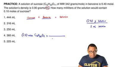 A solution of sucrose (C12H22O11 of MW 342 grams/mole) in benzene is 0.40 mola...