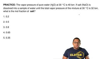 The vapor pressure of pure water (H2O) at 30°C is 40 torr. If salt (NaCl) is ...