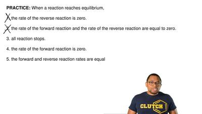 When a reaction reaches equilibrium,  1. the rate of the reverse reaction is z...