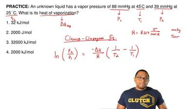An unknown liquid has a vapor pressure of 88 mmHg at 45 ◦C and 39 mmHg at 25◦C...