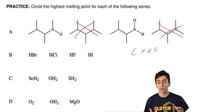 Circle the highest melting point for each of the following series.  ...