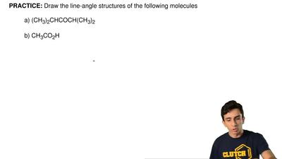 Draw the line-angle structures of the following molecules  a)(CH3)2CHCOCH(CH3...