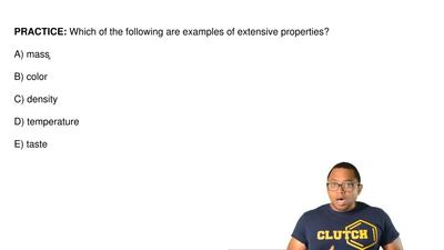 Which of the following are examples of extensive properties?  A) mass  B) colo...