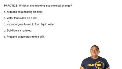 Which of the following is a chemical change?  a. oil burns on a heating elemen...