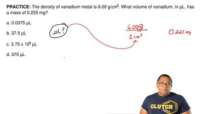 The density of vanadium metal is 6.00 g/cm 3. What volume of vanadium, in μL, ...