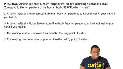 Arsenic is a solid at room temperature, but has a melting point of 354.15 K. C...
