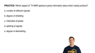 Which aspect of 1H NMR spectrum gives information about other nearby protons?...