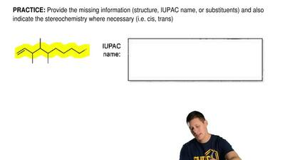Provide the missing information (structure, IUPAC name, or substituents) and a...