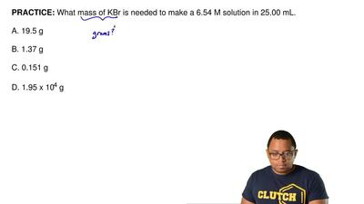 What mass of KBr is needed to make a 6.54 M solution in 25.00 mL ?  A. 19.5 g ...