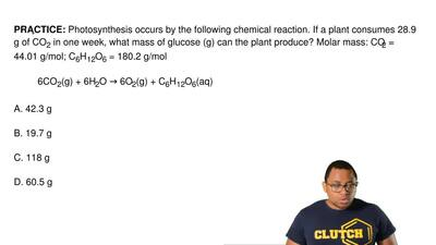 Photosynthesis occurs by the following chemical reaction. If a plant consumes ...