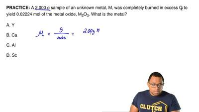 A 2.000 g sample of an unknown metal, M, was completely burned in excess O 2 t...