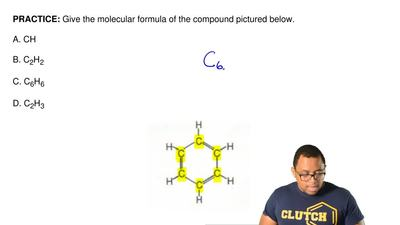 Give the molecular formula of the compound pictured below.  A. CH  B. C2H2  C....