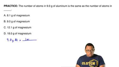 The number of atoms in 9.0 g of aluminum is the same as the number of atoms in...