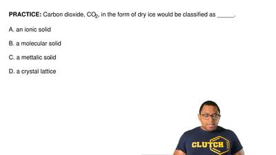 Carbon dioxide, CO2, in the form of dry ice would be classified as  A. an ioni...