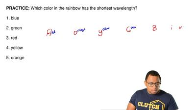 Which color in the rainbow has the shortest wavelength?   1. blue  2. green  3...