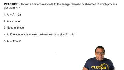Electron affinity corresponds to the energy released or absorbed in which proc...