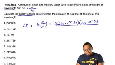 A mixture of argon and mercury vapor used in advertising signs emits light of ...