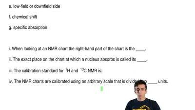 The following questions pertain to the charting of NMR spectra. MATCH a term t...