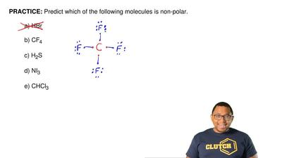 Predict which of the following molecules is non-polar.  a) HBr  b) CF4  c) H2S...