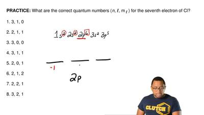 What are the correct quantum numbers ( n, ℓ, m ℓ ) for the seventh electron of...