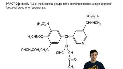 Identify ALL of the functional groups in the following molecule. Assign degree...
