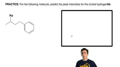 For the following molecule, predict the peak intensities for the circled hydro...