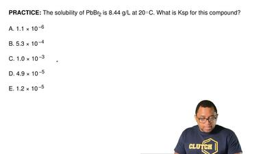 The solubility of PbBr2 is 8.44 g/L at 20◦C. What is Ksp for this compound?  ...