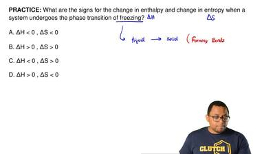 What are the signs for the change in enthalpy and change in entropy when a sys...