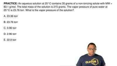 An aqueous solution at 25°C contains 35 grams of a non-ionizing solute with MW...