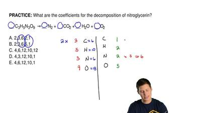 What are the coefficients for the decomposition of nitroglycerin?  __ C3H5N3O9...