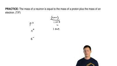 The mass of a neutron is equal to the mass of a proton plus the mass of an ele...